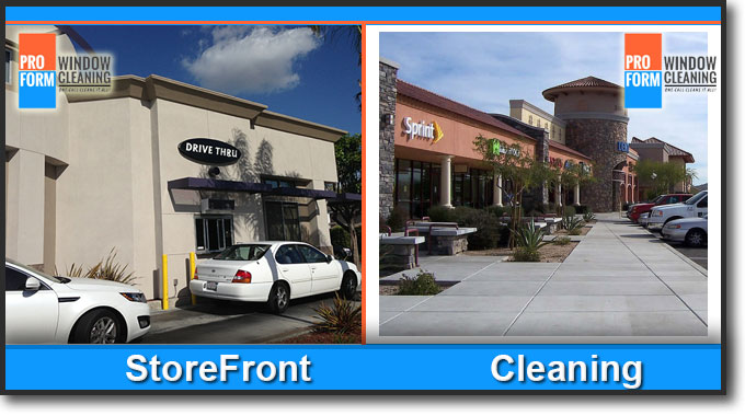 shopping center maintenance - window cleaning, pressure washing, Orange County, CA